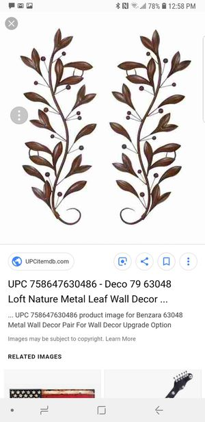 Decmode Metal Wall Decor Pair -brown for Sale in Long Beach, CA