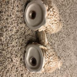 Quail bird ceramic pair salt and pepper shakers Thumbnail