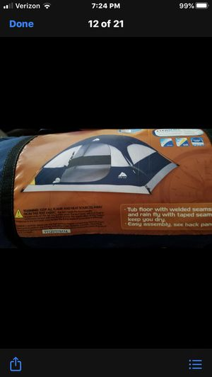 Photo Ozark Trail 2 person Dome Tent, 7x7ft., 42 in. Center height. Never used outside, used for a kids indoor camp out twice.