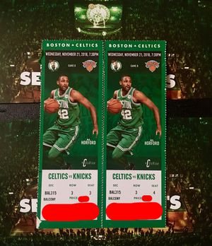 2 Tickets Celtics vs Knicks Wednesday November 21st 7:00PM @ TD Garden for Sale in Winthrop, MA