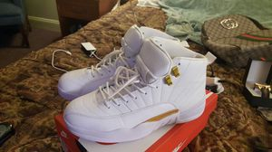 White and gold Jordan Retro 12s for Sale in Richmond, VA