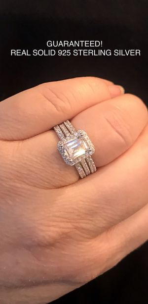100% Solid 925 Sterling Silver 2Ct Princess Cut Eternity engagement ring 3 Row Wedding Band Set Promise bridal Size 7 for Sale in Phoenix, AZ