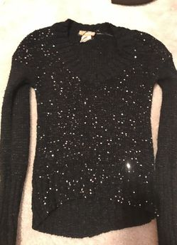 Black sparkly high low sweater Thumbnail