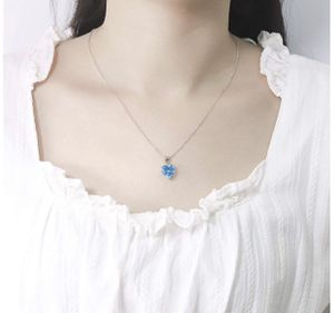 Photo Sterling Silver Necklace Blue Shinny Zirocn Heart Pendant Elegant 925 Silver Jewelry 18 Inches 18k White Gold Sterling Silver Chain Perfect Jewelry G