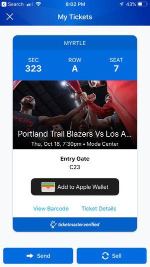 Blazers Lakers ticket 1st Row for Sale in Hillsboro, OR