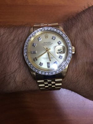 Rolex Datejust 36mm 18k solid gold Jubilee band Champagne Diamond Face 1.7ct Diamond bezel mint condition for Sale in Orlando, FL