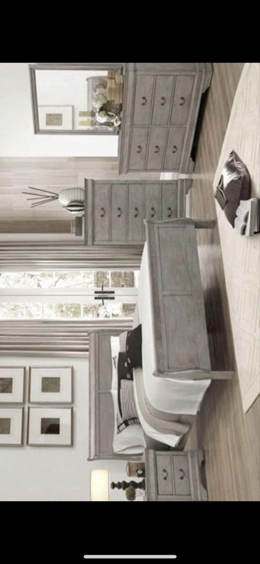 New 4pc grey queen size bedroom set