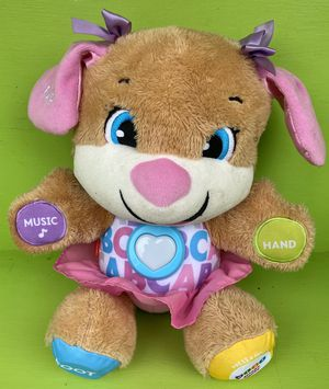 Photo Fisher Price Laugh And Learn Sing & Play ABC Tummy Puppy Girl Bear Musical Talking Interactive Education Toy 15 Inch Plush Stuffed Animal With Batter
