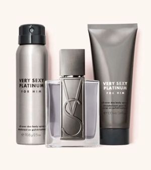 Photo New Victoria's Secret Very Sexy Platinum For Him Gift Set 3-pc Includes 1.7 oz Cologne, 1-2.5 oz All-Over Deo Body Spray, and 1-3.4 oz 2-in-1 Hair an
