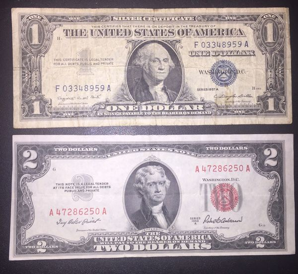 1957a Silver Certificate 1 Dollar Bill 1953a Red Seal 2 Dollar Error Miscut Bill