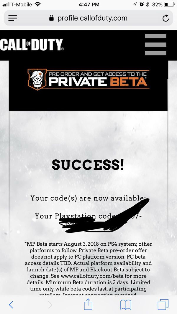 Black Ops 4 Beta Code (PlayStation) for Sale in Hayward, CA - OfferUp