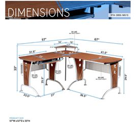 Techni Mobili Deluxe L-Shaped Computer Desk With Pull Out Keyboard Tray, Mahogany (RTA-3806-M615) Thumbnail