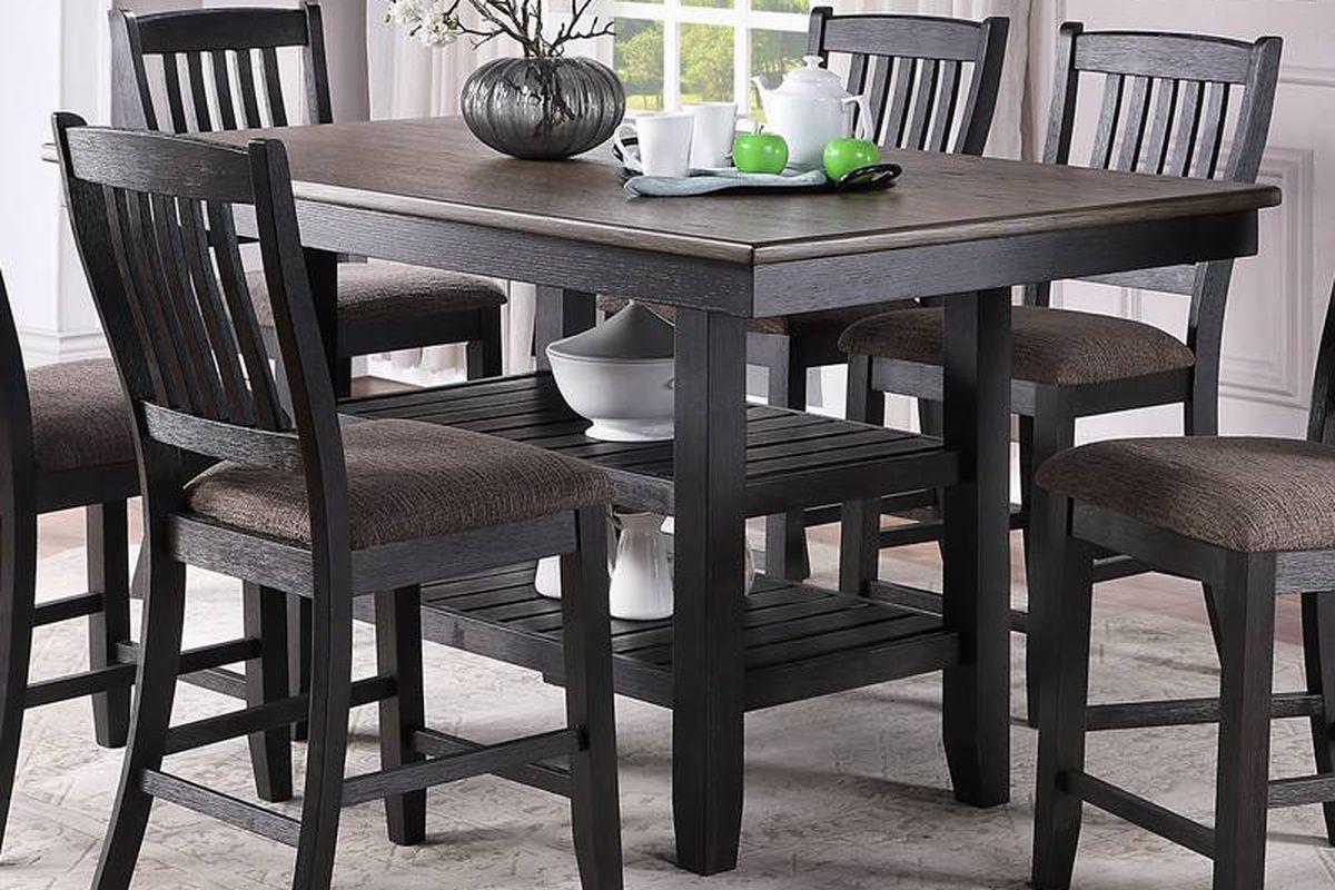 7PC Gray Black Dining Table Set