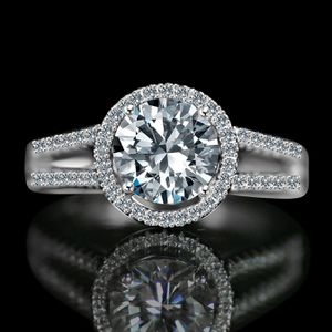 Radiant Round 2 CT. Split Shank Paved Floating Halo Simulated Diamond - Diamond Veneer Engagement/Wedding Sterling Silver Ring. 635R4008 for Sale in San Diego, CA