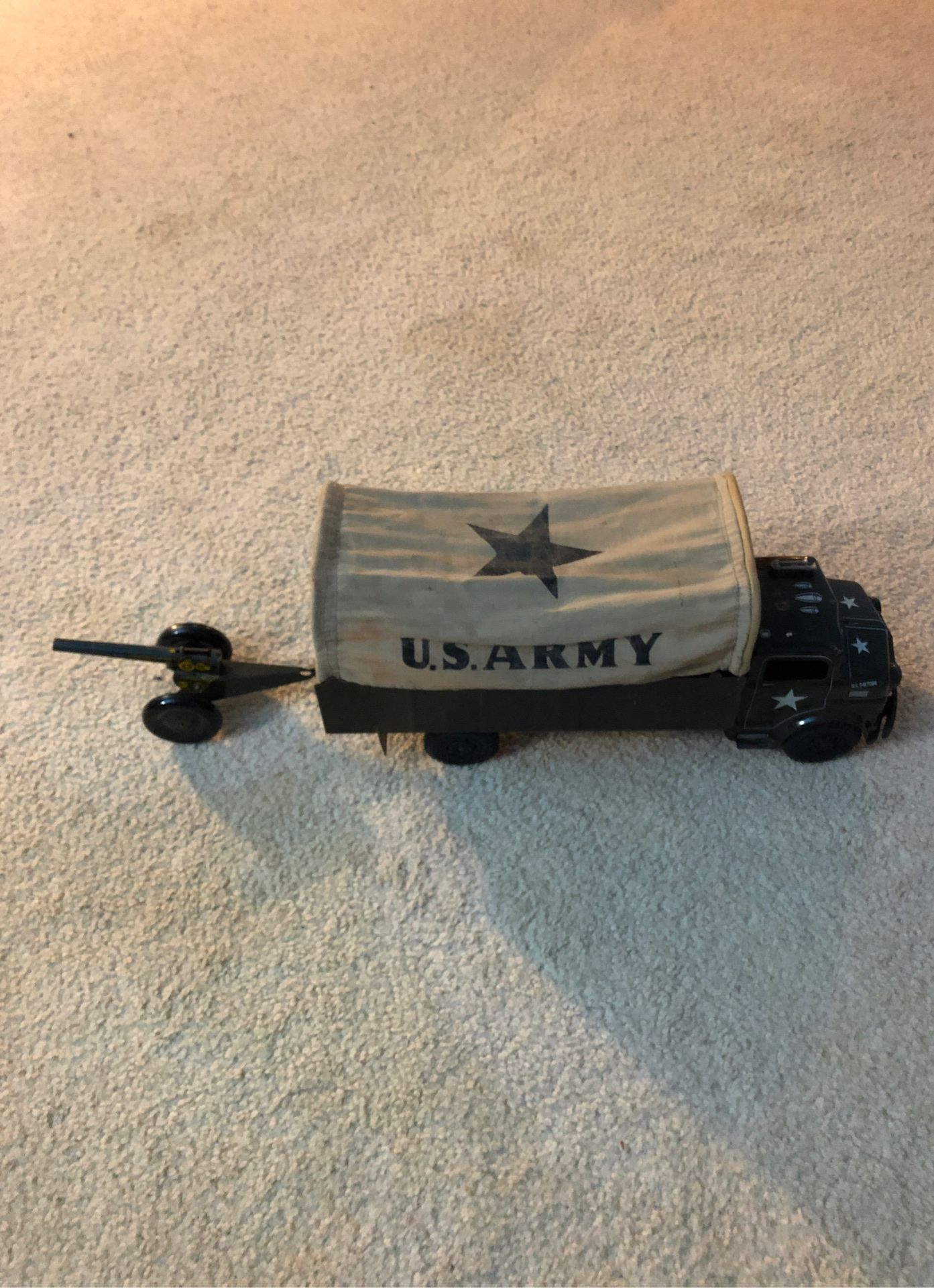 U s army toy truck with cannon