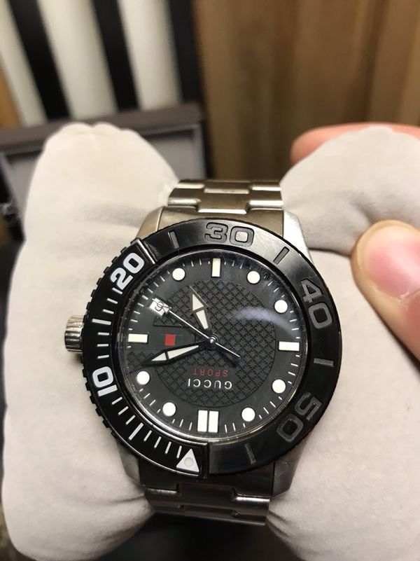 d06f1e86b54 GUCCI YA126249 MENS G-TIMELESS SPORT WATCH BLACK ROTATING BEZEL BLACK FACE  LUMINOUS MARKERS HANDS DATE STAINLESS STELL BAND 10ATM WATER RESISTANT 100