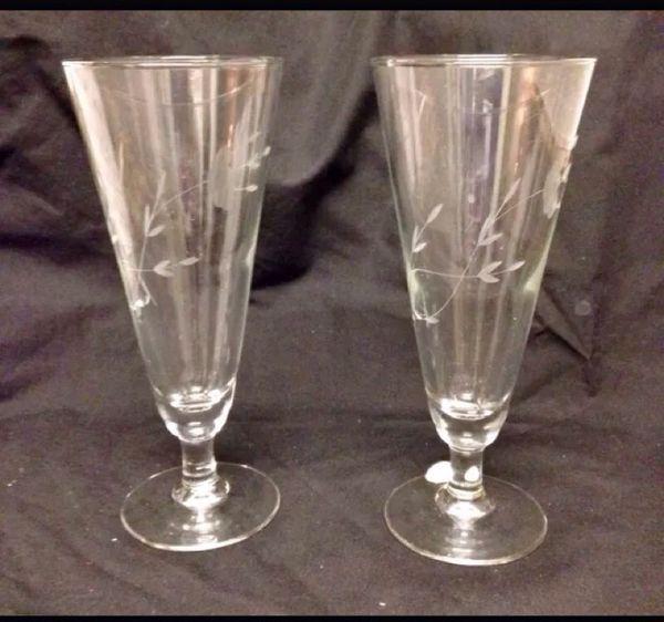 Nib 2 Princess House Heritage Crystal Pilsner Glasses 442