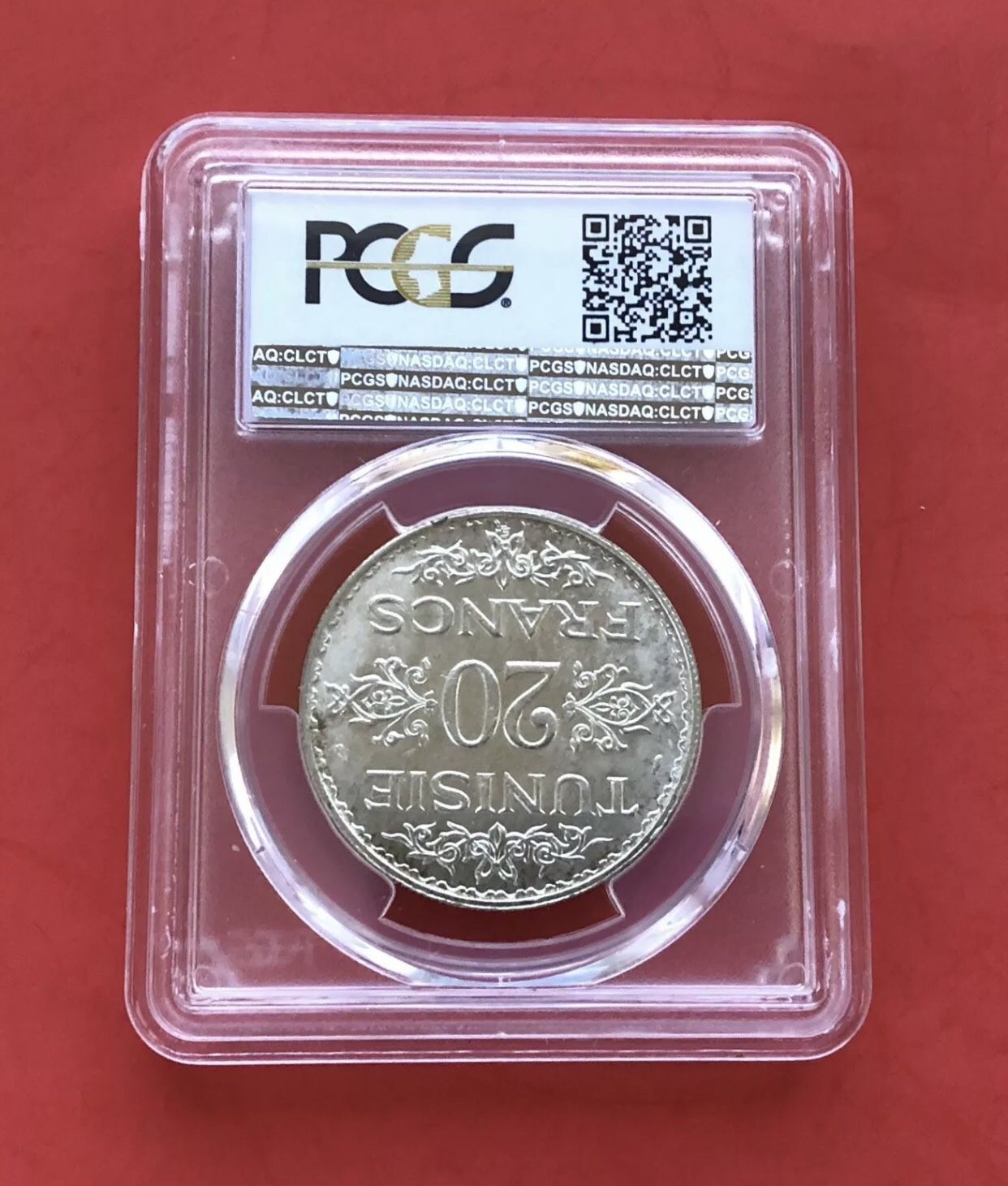TUNISIA-AH 1353(AD1934 )SILVER COI 20 FR.,GRADED BY PCGS MS65.RARE! LOW MINTAGE