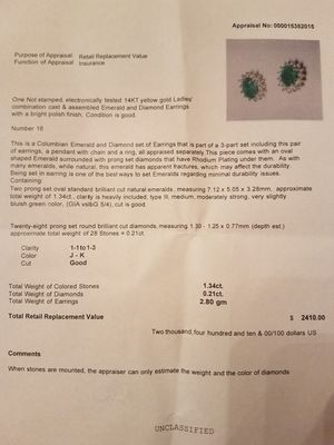 Columbian Emerald and Diamond earrings and pendant set for Sale in Fairfax Station, VA