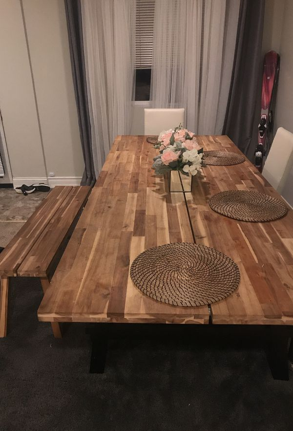 Ikea Skogsta Dining Table And Bench For In Seattle Wa Offerup