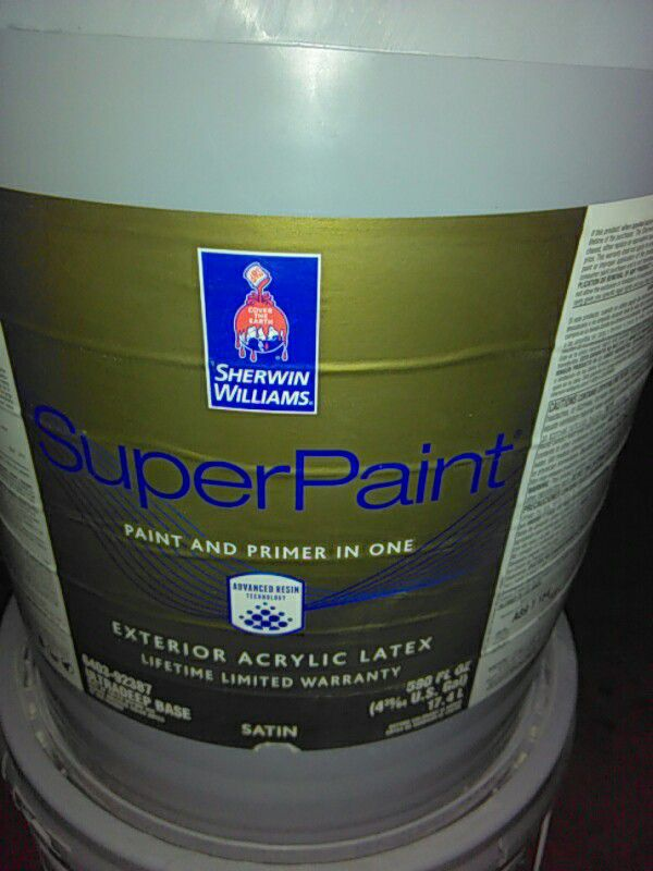 5 gallons Sherwin Williams super paint exterior latex satin color is on sherwin-williams wheat penny, sherwin-williams utterly beige, sherwin-williams tiger eye, sherwin-williams torchlight, sherwin-williams tony taupe,