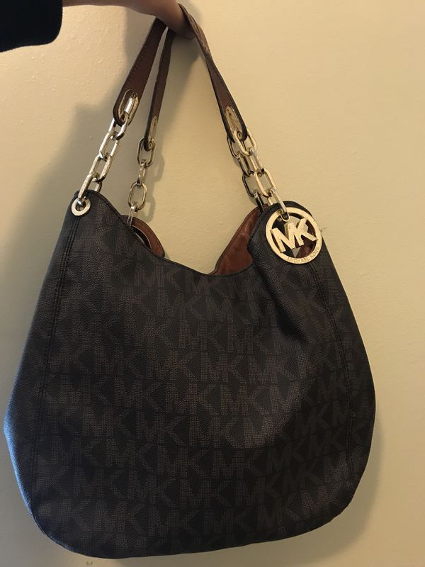 3f90eb129ce3e6 Michael Kors Fulton Large Brown Signature Leather Shoulder Handbag ...