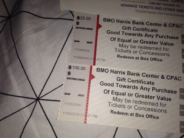125 Bmo Harris Bank Gift Certificate Can Be Redeemed For Any Event
