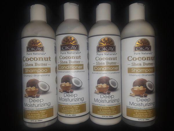 okay coconut shea butter shampoo conditioner set for sale in north