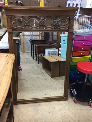 "Nice Heavy Oak Mirror,will hang,47 1/2""x29 1/4"", very good condition for Sale in Waynesboro, VA"