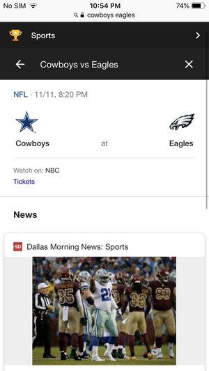 eagles vs cowboys tickets 11/11/18 for Sale in Philadelphia, PA