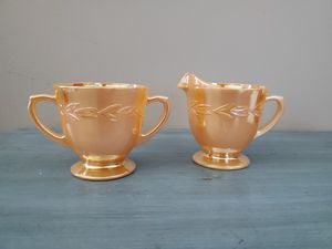 Photo Vintage Fire King Creamer and Sugar