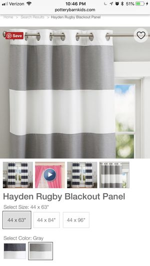 """63"""" Pottery Barn Kids Gray Hayden Rugby Stripe Blackout Curtains for Sale in Bristow, VA"""