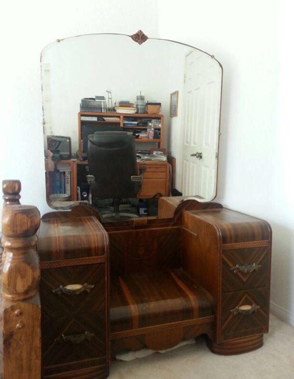 Open in the AppContinue to the mobile website - Antique 1920's Art Deco Waterfall Vanity With Mirror, Dresser Desk