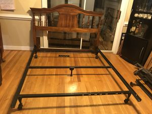 Queen size solid wood headboard and metal bed frame for Sale in Richmond, VA