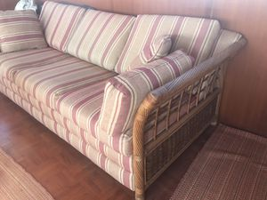 Cool Plantation Style Rattan Couch Sofa With Pull Out Bed For In Brick