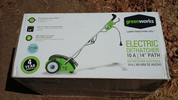 Greenworks 14 Inch 10 Amp Corded Dethatcher Brand New Aerate Yard Landscape Gr Dirt