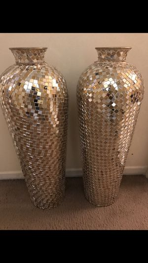 """3 different pairs of large 30"""" tall handcrafted mosaic vases $240 a pair each picture click on my profile picture on this page to check out my other for Sale in Gaithersburg, MD"""