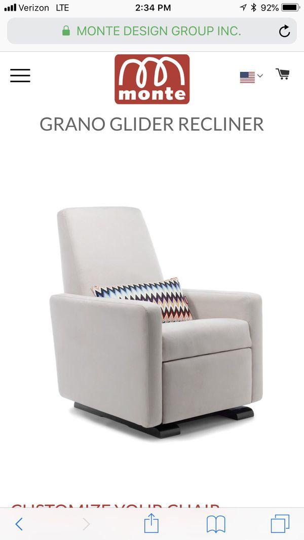 Monte Grano Glider Recliner In Stone Microsuede For Sale In Chicago