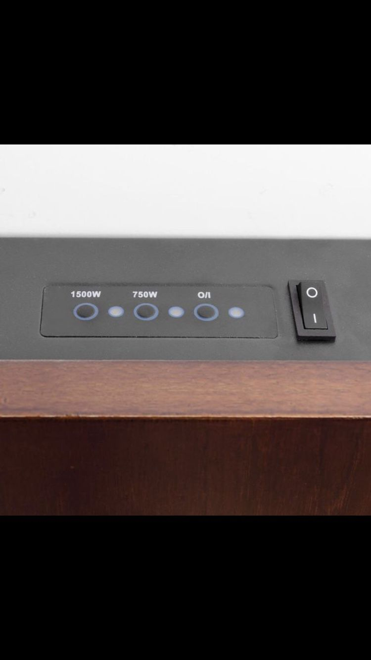 AKDY 36 in. Wall Mount Electric Fireplace Heater in Wooden Brown with Tempered Glass, Pebbles, Logs and Remote Control