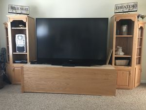 "Handmade solid oak 5 piece unit with 73"" TV for Sale in Apex, NC"