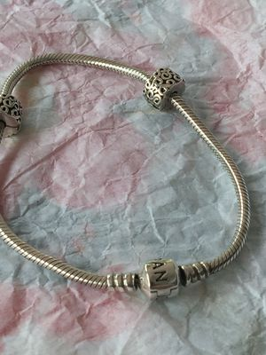 82d81245a Pandora bracelet with 20 charms (these are just a few) like new for Sale