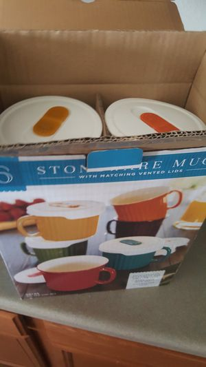 BRAND NEW 12 PIECE VENTED LID STONEWARE MUGS! for Sale in Frederick, MD