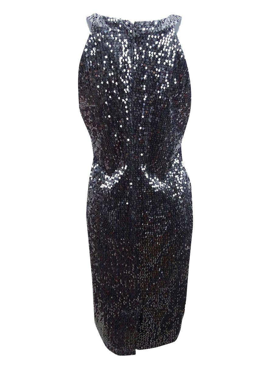 Nightway Women's Velvet Sequined Sheath Dress 10, Charcoal