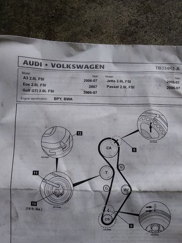 water pump and timing belt kit for 2 0 vw engines