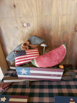 Americana wooden cart with crow flag and water melon for Sale in Farmville, VA