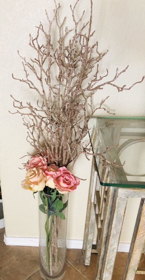 Tall Vase With Roses And Rose Gold Accents For Sale In