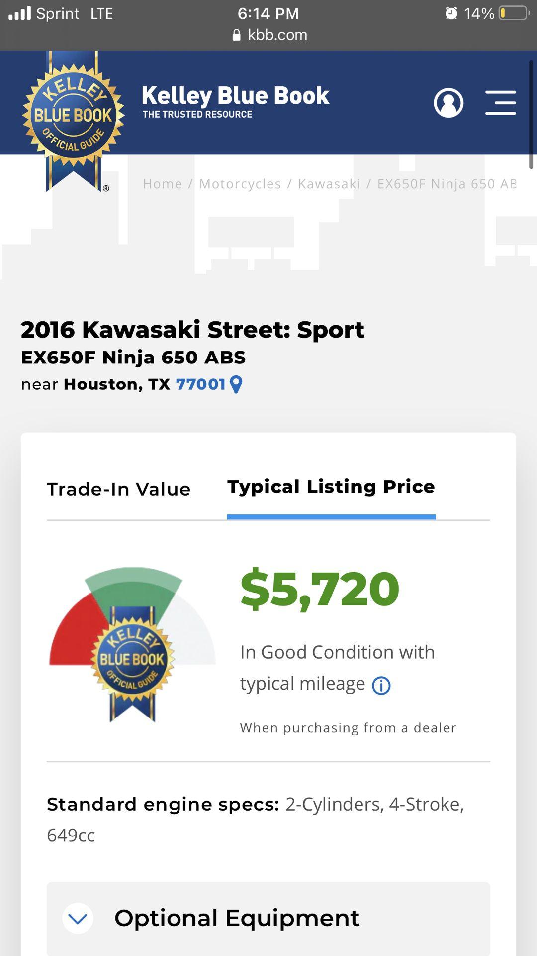 2016 Kawasaki Ninja 650R ABS
