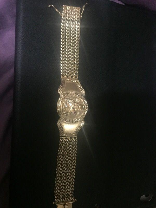 14k Solid Gold Cuban Link Bracelet With Santa Barbara For