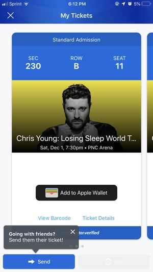 Two Chris young tickets (Raleigh at PNC Arena) for Sale in Holly Springs, NC