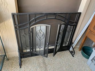 Black Iron and Glass Fireplace Screen Thumbnail
